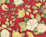 Meadow Birds Floral Red MUSLIN from Springs Creative Fabric