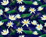Moonlight Serenade Metallic - Lotus Glower Dragonfly Indigo from Kanvas Studio Fabric