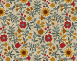Quilter Barn Prints II - Ashville Floral Tan by Painted Sky Studio from Benartex Fabrics