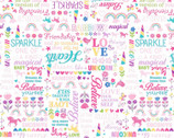 Unicorn Magic Pearlescent - Magical Words White by Kanvas Studio from