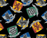 Harry Potter FLEECE - Quidditch Houses Black from Camelot Fabrics