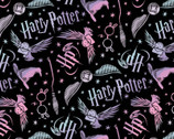 Harry Potter FLANNEL - Tossed Elements Black from Camelot Fabrics