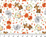 Sweet Woodland Friends FLANNEL White from David Textiles Fabrics