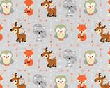 Buddies Patchwork Animals Lt Grey Tan FLANNEL from David Textiles Fabrics