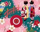 Maiko - Geisha Garden Teal Pink from Cosmo Fabric