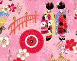 Maiko - Geisha Garden Pink from Cosmo Fabric