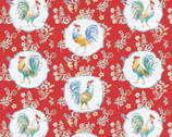 Morning Bloom - Rooster Floral Red from David Textiles Fabrics