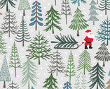 Christmas Trees - Santa's Trees Lightest Grey from Lewis and Irene Fabric