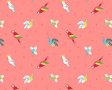 Small Things Pets - Birds Tropical Coral Pink from Lewis and Irene Fabric