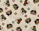 Home Sweet Home FLANNEL - Houses Natural from Maywood Studio Fabric