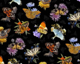 Butterflies and Moths - Large Moths Black from Elizabeth's Studio Fabric