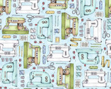 Measure Twice - Sewing Machines Aqua by Kris Lammers from Maywood Studio Fabric