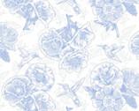 Poppy Meadow - Poppy Linework Blue from Henry Glass Fabric