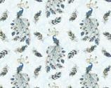 Peacock Flourish - Flourish Allover Lt Teal Metallic by Ann Lauer from Benartex Fabrics