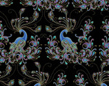 Peacock Flourish - Black Metallic from Benartex Fabrics