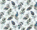 Peacock Flourish - Floating Feather Lt Teal Metallic from Benartex Fabrics