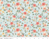 Gingham Gardens - Floral Aqua by My Mind's Eye from Riley Blake Fabric