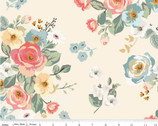 Gingham Gardens - Main Floral Cream by My Mind's Eye from Riley Blake Fabric