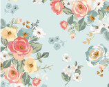 Gingham Gardens - Main Floral Aqua by My Mind's Eye from Riley Blake Fabric