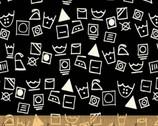 Dirty Laundry - Washing Symbols Black by Whistler Studios from Windham Fabrics