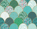 Ahoy! Mermaids - Clamshell Cheaper PANEL Green Sparkle 36 Inches by Melissa Mortenson from Riley Blake Fabric
