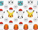 Pokemon - Character Pokeballs White from Robert Kaufman Fabric