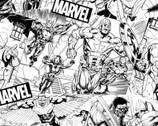 Avengers - Marvel Avengers Sketch Black White from Springs Creative Fabric