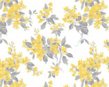 Summer Blooms - Tossed Flower Bundles White from Camelot Fabrics