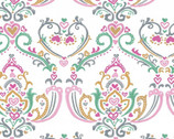 Pen Pals - Damask White from Clothworks Fabric