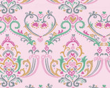 Pen Pals - Damask Pink from Clothworks Fabric