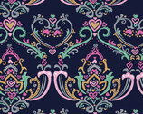Pen Pals - Damask Dark from Clothworks Fabric
