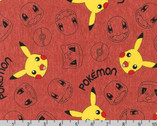Pokemon - Characters Pikachu Red Terracotta from Robert Kaufman Fabric