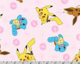 Pokemon - Character Toss Pink from Robert Kaufman Fabric