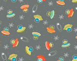 Outer Space - Scatter Martians Grey from Makower UK  Fabric