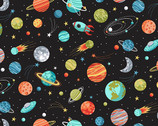 Outer Space - Planets Black from Makower UK  Fabric