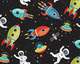 Outer Space - Spaceship Astronaut Scene Black from Makower UK  Fabric