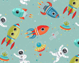 Outer Space - Spaceship Astronaut Scene Blue from Makower UK  Fabric