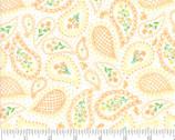 Sunday Picnic - Paisley Floral White Orange by Stacy Iest Hsu from Moda Fabrics