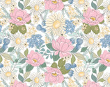 Country Roads - Flowers White from Poppie Cotton Fabric