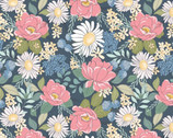 Country Roads - Flowers Blue from Poppie Cotton Fabric
