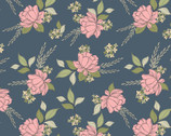 Country Roads - Shenandoa Floral Toss Navy Blue from Poppie Cotton Fabric