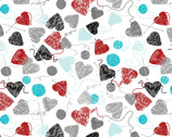 All You Knit Is Love - Yarn Balls and Hearts White  from Kanvas Studio Fabric