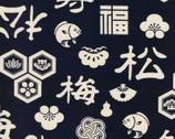 Celebration Japanese CANVAS - Characters Icons Black from Kokka Fabric