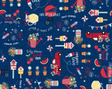 Red White and Bloom - American Graffiti Multi Navy from Maywood Studio Fabric