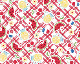 Red White and Bloom - Picnic Table Food Red from Maywood Studio Fabric