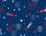Red White and Bloom - Fireworks Blue Navy from Maywood Studio Fabric