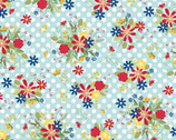 Red White and Bloom - Polka Dot Flower Aqua from Maywood Studio Fabric