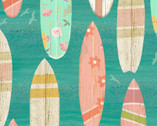 Beach Travel - Surf Boards Turquoise by Beth Albert from 3 Wishes Fabric