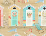 Beach Travel - Beach Huts Sand by Beth Albert from 3 Wishes Fabric