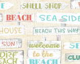 Beach Travel - Signs Cream by Beth Albert from 3 Wishes Fabric